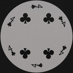 Round Playing Card 4 of Clubs (Leo Reynolds) Tags: playing club canon eos iso100 deck card round squaredcircle clubs 60mm f80 circular playingcard carddeck 40d hpexif 0067sec xleol30x sqset079