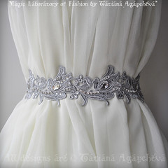 Sash, Belt SALE Reg. 245 Bridal Luxury Wedding /Fleur De Lis French Lily/,Silver Venice Lace, Rhinestones, Crystals 2012 (ArtTiana{TianaCHE on Etsy}) Tags: party fashion hair veil designer handmade victorian halo merino artnouveau prom gift romantic artdeco accessories weddings etsy maidofhonor luxury couture coctail handcraft facebook plussize alfonsmucha 2011 vintagelook twitter   twitpic etsygift  tianache weddingbelt etsyfashion crystalsash wedlux enzoaniinspired austrianrhinestones bridalluxsash lacybeadedsash promdresssash rosesbridalveil swarovskibeaded uniquesashbelt venicelacebelt veniselacesash wedeclectic