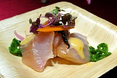 Chef Rubino Pairing of Kampachi Sashimi with Oshinko and Miso