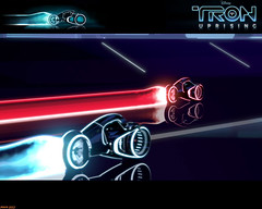 Tron Uprising #79 (Phaota2) Tags: street light wallpaper reflection wheel race reflections computer neon graphic wheels scene disney racing cycle tron legacy uprising cgi imagery cycles lightcycle lightcycles