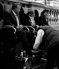 Businessman gets a shoe shine! (TBTAOTW2011) Tags: man black leather businessman daddy shoe dad shine tie polish business suit shoeshine loafers loafer