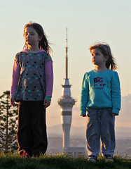standing tall (pukunui81) Tags: winter girls newzealand cold silly kids sisters canon daughters auckland skytower d2 d1 550d t2i canoneos550d