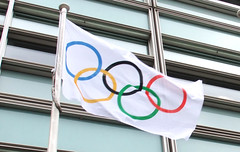 Olympic flag flying outside Eland House