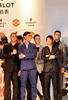 Federico Macheda, Davide Petrucci and Shinji Kagawa Manchester United football players pose on the catwalk during a Hublot Charity Dinner and Fashion Show event in aid of the MU Foundation at Shangri-La Hotel Shanghai, China
