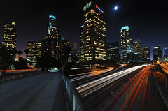 City Lights of Angels, Downtown LA (_flowtation) Tags: california ca city longexposure vacation sky moon tower cars skyline night abend mond la licht losangeles highway downtown cityscape skyscrapers nacht strasse urlaub towers sigma autobahn fullmoon angels freeway downtownla autos banks taillights kalifornien fourthstreet cityofangels vollmond usbank langzeitbelichtung unionbank downtownlosangeles sigma1020mm 110freeway ladowntown strase losangelesdowntown wokenkratzer highway110 d7000 nikond7000 usbankla unionbankla