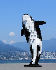 Digital Orca (njchow82) Tags: sculpture vancouver cityscape bc publicart canadaplace threedimensional artwotk digitalorca nancychow canonpowershotsx30is cubicpixels