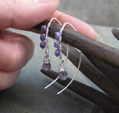 Sterling and Amethyst Wire Threads (AshleighAnnette) Tags: thread silver wire wrapped drop earrings amethyst dangle bold sterlingsilver threader briolette