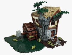 Water Mill Cottage (Tilde Brick) Tags: lego castle moc cobblestone path waterwheel brown swamp