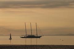 Three-Mast Yacht, Troon, off Barassie Beach #1 (moonfan23) Tags: yacht 3mast troon ayrshire scotland sailing sunset reflection seascape