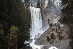 Vernal Falls (San Francisco Gal) Tags: yosemite yosemitenationalpark vernalfalls waterfall cliff rock granite tree hiker mist mercedriver wow