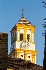 Church tower in Marbella old city (TimOve) Tags: vacation ferie trip summer sommer marbella churchtower clock spain spania rosas