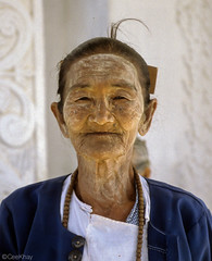 Burmese lady with traditional makeup (Never.Stop.Searching.) Tags: burma myanmar people portrait traditional age wrinkles asia lady makeup