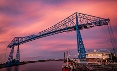 Blue Below Pink (MrSteMcD) Tags: transporter bridge middlesbrough river tees hartlepool north yorkshire steel boat sky clouds sunset dusk nikon d750 tamron 2470mm lens pano panorama stitched handheld vr pink purple