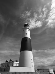 clouds above the lighthouse (Johnson Cameraface) Tags: 2016 july summer olympus omde1 em1 micro43 mzuiko 1240mm f28 johnsoncameraface portland portlandbill dorset holiday lighthouse blackandwhite