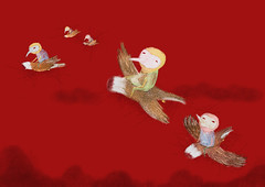 Greed (twiing) Tags: greed background art drawing digitalart dream digital draw design sad bird dof artist sketch sketching surreal sky man illustration photoshop person pencil september red people illusion