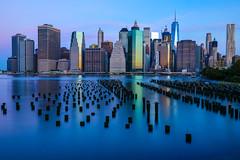 First Light (Amar Raavi) Tags: downtownmanhattan lowermanhattan manhattan newyorkcity newyork ny unitedstates usa america outdoor sunrise dawn eastriver dumbo brooklynbridgepark pier1 longexposure canon5dmarkiv skyscrapers skyline cityscape