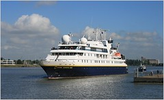 Cruise Ship National Geographic MV Orion ....   Lindblad Expeditions.     Arrival. (Aquarius15) Tags: belgium antwerp summer cruiseshipnationalgeographicmvorion lindbladexpeditions ships boats cruise clouds sky skyline city architecture riverscheldt water waves reflections arrival