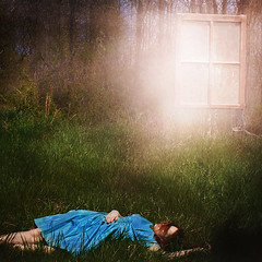 A Portal to a Dreamers Mind (yelahrenae) Tags: surreal outdoors nature window portal dream dreamer dreaming dreams blue dress vintage girl woman sun flare green grass pink light bright levitation floating rest portrait fine art sleep asleep sleeping
