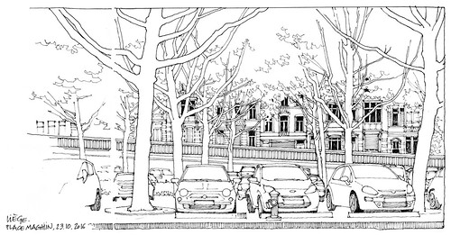Liège, place Maghin (gerard michel) Tags: belgium liège architecture auto place sketch croquis