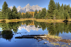 Daydreaming (dbushue) Tags: trees light mountains nature water reflections landscape mirror scenery shadows surface glassy 2010 grandtetonnationalpark coth gtnp supershot schwabacherslanding naturesgarden absolutelystunningscapes damniwishidtakenthat flickrclassique coth5 dailynaturetnc12 sunrays5