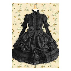 Black Long Sleeve Bow Lace Cotton Gothic Lolita Dress (vsealzkmuns57) Tags: black long dress lace gothic lolita cotton bow sleeve