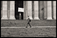Lone Protest (davemason) Tags: street london mono steps protest stpauls