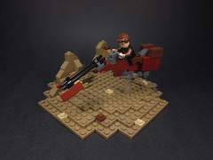 Owen Lars' Speeder Bike (Walter Benson) Tags: bike dark star desert lego sandy tan fast scene lars ii remote anakin wars owen vignette swoop episode diorama speeder skywalker whoosh darkred tatooine episodeii attackoftheclones owenlars tuskens darktan swoopbike eurobricks communitybuild eurobricksstarwarsepisodeiicommunitybuild
