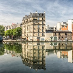 ~ it was a great morning for reflections ~ (Janey Kay) Tags: distortion paris reflection water reflections spring explore squareformat abstraction spiegelung reflets printemps lavillette frhling circularpolariser quaideloise canaldelourq formatcarr janeykay parisphotomeetup panasonic14140mm may2012 panasonicdmcgh2 leicadgsummilux25f14 mai2012 asundayinspring