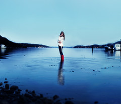 Realization (Sophia Alexis) Tags: blue red portrait reflection water girl norway self canon eos 50mm boots sigma midnight 7d hunter