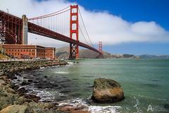 IMG_4166 (jo_asakura) Tags: ocean sanfrancisco california ca bridge sea water clouds river spring skies goldengatebridge baybridge blueskies 2012 redbridge pons orangebridge