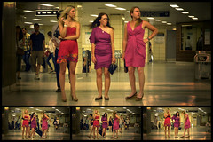 Three Ladies and a Quadriptych (josericardodavid_o) Tags: ladies party toronto ontario canada subway women pretty dress candid ttc ready bloor whoknows bloorstation yongesubway quadriptych blooryongestation