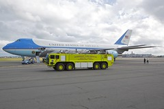 Massport Fire Rescue drive by (Tomlin's Images) Tags: boston fire airport unitedstatesofamerica firetruck airforceone boeing airforce runway obama 747 bostonloganairport firerescue afo vc25 massport 28000