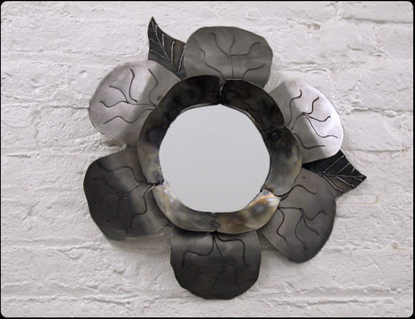 Metal Petals Steel Flower Mirrors