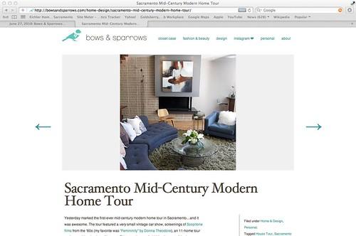 June 27, 2010: Bows & Sparrows blog post about the 2010 Sacramento Mid-Century Modern Home Tour