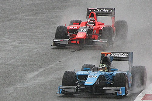 Max Chilton catches Victor Guerin at a wet Silverstone