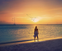 Moments of Precious Peace (_Paula AnDDrade) Tags: ocean sunset sea sky woman selfportrait praia beach water birds sailboat photography boat sand dress areia mulher aruba caribbean fotografia pssaros digitalphotography caribe paulaanddrade