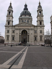 St Stephen's Basilica, Budapest (MikePScott) Tags: camera tower clock church abbey buildings streetlight hungary cathedral streetlamp basilica budapest steeple spire monastery lamppost cupola dome duomo ecclesiastical baptistry ststephenscathedral builtenvironment architecturalfeatures panasonicdmcfz30 featureslandmarks towersetc
