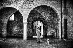 The girl with the French bulldog (stocks photography.) Tags: bw france french mono streetphotography stocks stocksphotography michaelmarsh lajeunefilleaveclebouledoguefranais