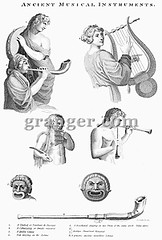 0055002 (Granger Historical Picture Archive) Tags: playing men reed ancient women mask pipe flute double entertainment engraving string pan piper horn tambourine minstrel woodwind flutist lyre harpist percussionist syrinx aulos lyrist pipesofpan