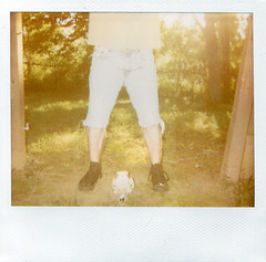 Man and Beast (Emily Savill) Tags: 2 two portrait podcast man classic film animal analog project dead skeleton polaroid photography skull pig soft legs image pork beast instant shorts analogue hulk spectra hog tone cutoffs fpp jorts softtone