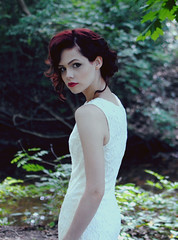 (Kylie Parks) Tags: red woman girl leaves 35mm vintage woods dress bokeh lace lips redhead redlips redlipstick redhair lacedress tumblr nikond3000 kylieparks kylieparkstumblr