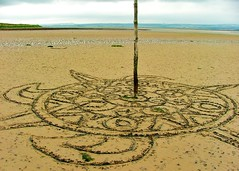 mandala sand drawing ,  Lindisfarne (Mark and Rebecca Ford Art Sculpture) Tags: sea sculpture art beach landscape photography countryside photo drawing northumberland installation land holyisland lindisfarne landart july2012thenorth