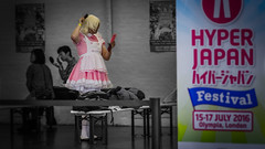 Hyper Preparation (Corbicus Maximus) Tags: hyper japan 2016 pink dress monochrome street photography olympia kensington london man girl sign nikon d7000 lightroom adobe wig brush