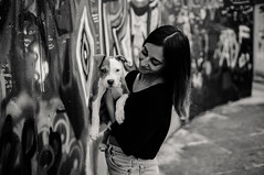 Dog (kristinabychkova2) Tags: dog girl graffiti nikon d90 30mm bw beautiful city culture camera
