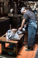 Off with their heads! (phikapphil) Tags: tsukiji fish market tuna tokyo japan japanese monger head sushi butcher slice cut cutting man nikon d7100