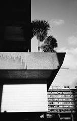 Barbican sunshine (Jim Davies) Tags: olympusmjuii olympusstylusepic monochrome mjuii stylusepic ilford xp2 c41 chromogenic 35mm analogue veebotique olympus london barbican architecture modernism brutalism concrete buildings blackwhite bw filmfilmforever ishootfilm film