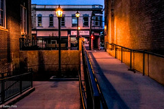 Painted Light (B.jamison Photo) Tags: city night sunset light streetlight street ramp building soft sky brick