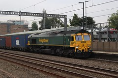 Almost all the 6's (cosmostrainadventures) Tags: class66 tamworth westcoastmainline wcml intermodal 66566 freightliner tam containertrain shed thrash