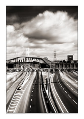 Dartford Crossing (derek_michalski) Tags: monochrome bw blackandwhite biancoynegro derekmichalskiphotography qe2 bridge sky clouds le longexposure nikon leefilter 10stops bigstopper nd dartfordcrossing