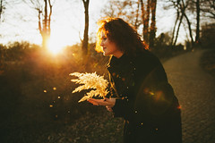 Welcome September (Yuliya Bahr) Tags: yellow sun autumn gold light backlight sunlight september girl woman red redhead redhair flare sunflare lensflare blackdressed nature magic dream germany potsdam portrait